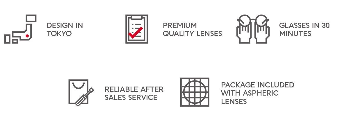 JINS Design in Tokyo Premium Quality Lenses Glasses in 30 minutes Reliable After Sales Service Package Included With Aspheric Lenses